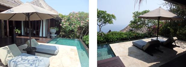プライベートプールから見える美しい景色