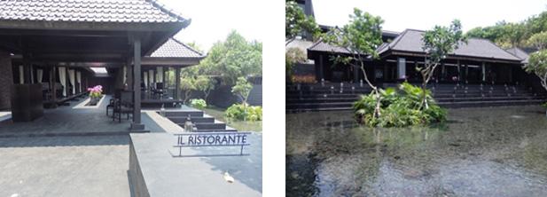 水辺の隣接するオープンエアーレストラン