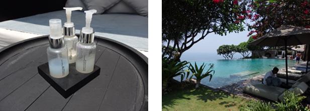 ホテルパブリックプールに備え付けてあるアメニティーと優雅な時間を過ごせるお庭