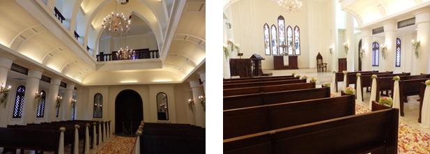 広く天井も高い礼拝堂内観