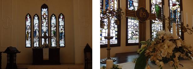 100年の歴史を持ち、光り輝くステンドグラス