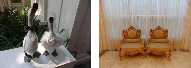 カルガモの小物と猫足の椅子