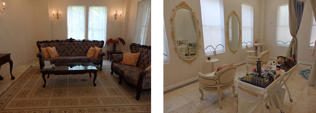 ロココ調の家具で統一されたサロン内とお姫様気分を高めてくれるメイクルーム