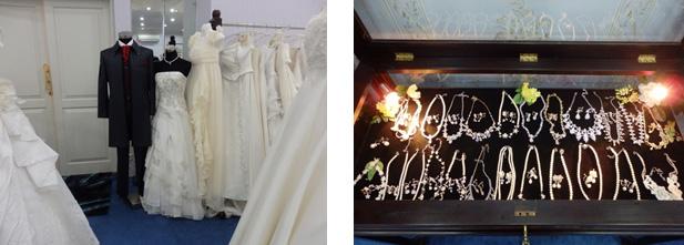 サロンにある多数ドレスと豊富な数のアクセサリ
